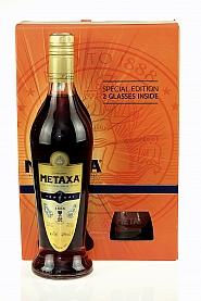 Brandy Metaxa 7* 0,7L + 2 szklanki